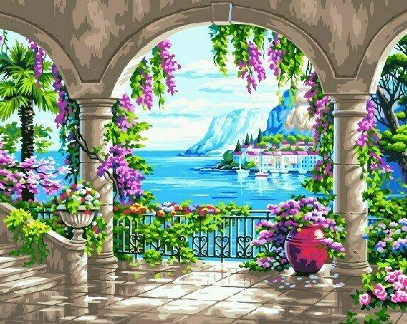 Картина по номерам GX 8723 Веранда с арками 40*50