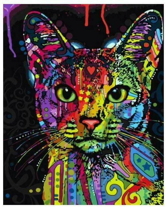 Картина по номерам GX 9868 Радужный кот 40*50