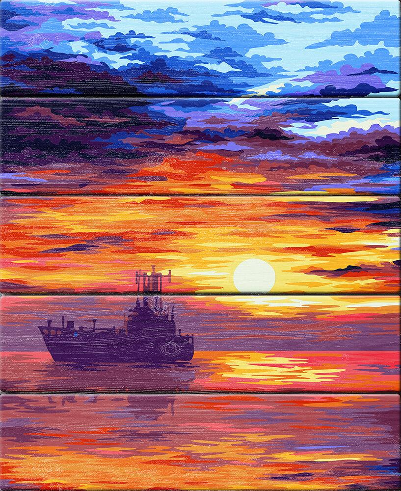 "Картина по номерам по дереву ""В лучах заката"", 40х50см, ФРЕЯ, PKW-1 76"