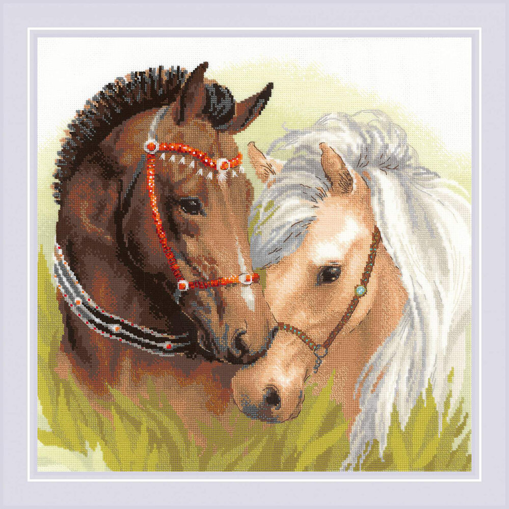 """Набор для вышивания """"RIOLIS"""" 1864 """"Пара лошадей"""", 40х40см"""