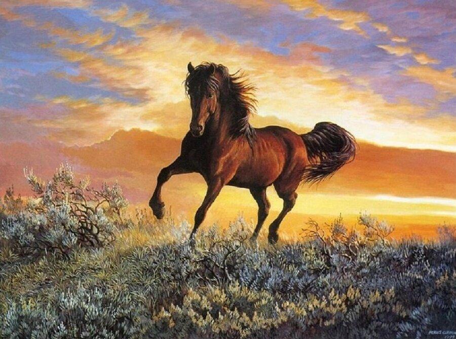 """Картина по номерам Paintboy GX6943 """"Лошадь на закате"""" 40х50см"""