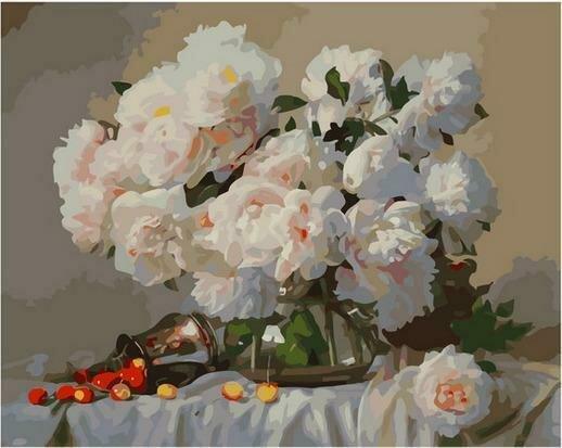Картина по номерам PK68047 Нежный букет в стеклянной вазе 40х50см