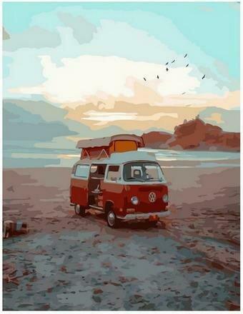 Картина по номерам PK68035 Фургон на диком пляже 40х50см