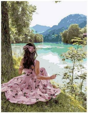 Картина по номерам PK68031 Девушка на берегу реки 40х50см