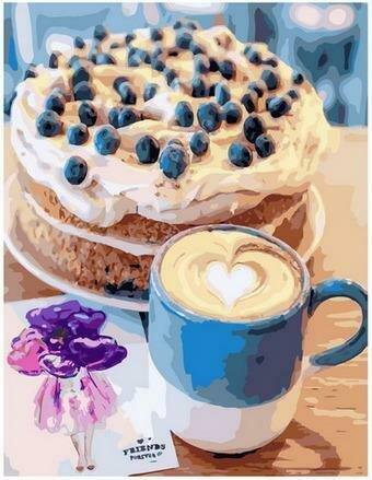 Картина по номерам PK68024 Кофе и воздушный торт 40х50см