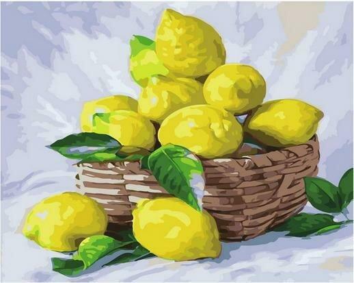 Картина по номерам PK68019 Корзинка с лимонами 40х50см