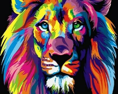 Картина по номерам GX8999 Радужный лев 40х50см