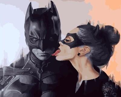Картина по номерам PK24059 (GX28199) Бэтмен и Женщина-кошка 40х50см