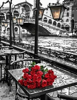 Картина по номерам GX9754 Розы под дождем 40х50см