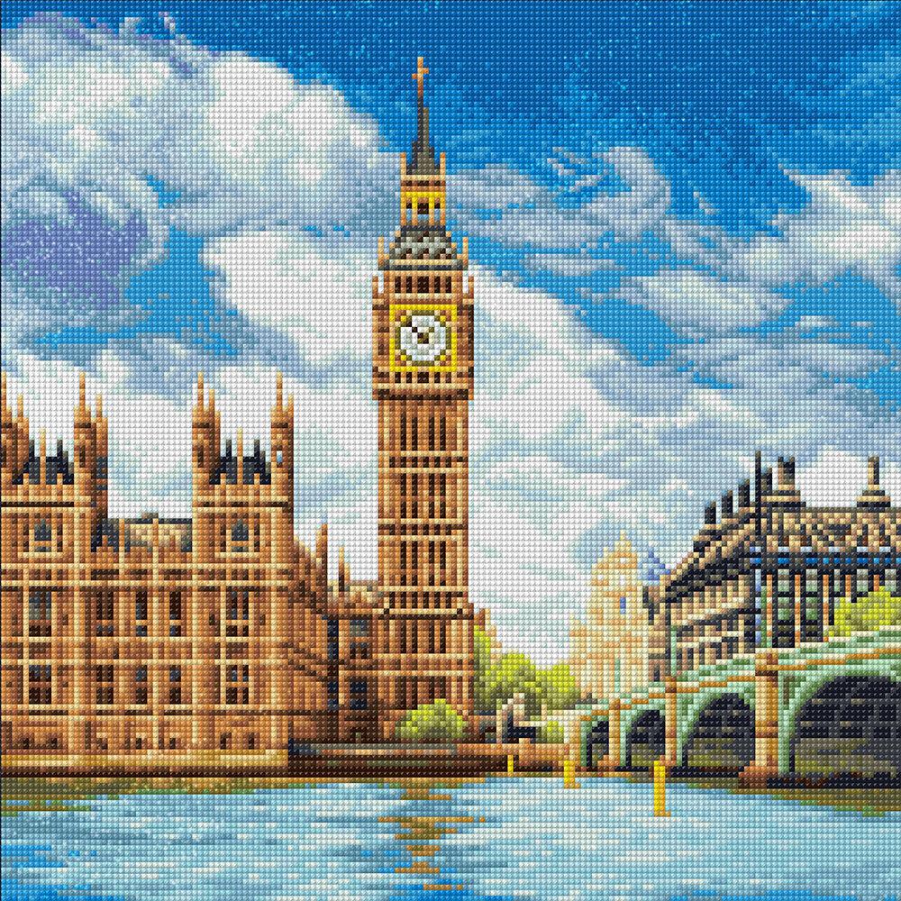 """Алмазная вышивка 40х40см""""ФРЕЯ"""" ALVA-04 """"Лондон. Палата лордов""""ALVA-04"""