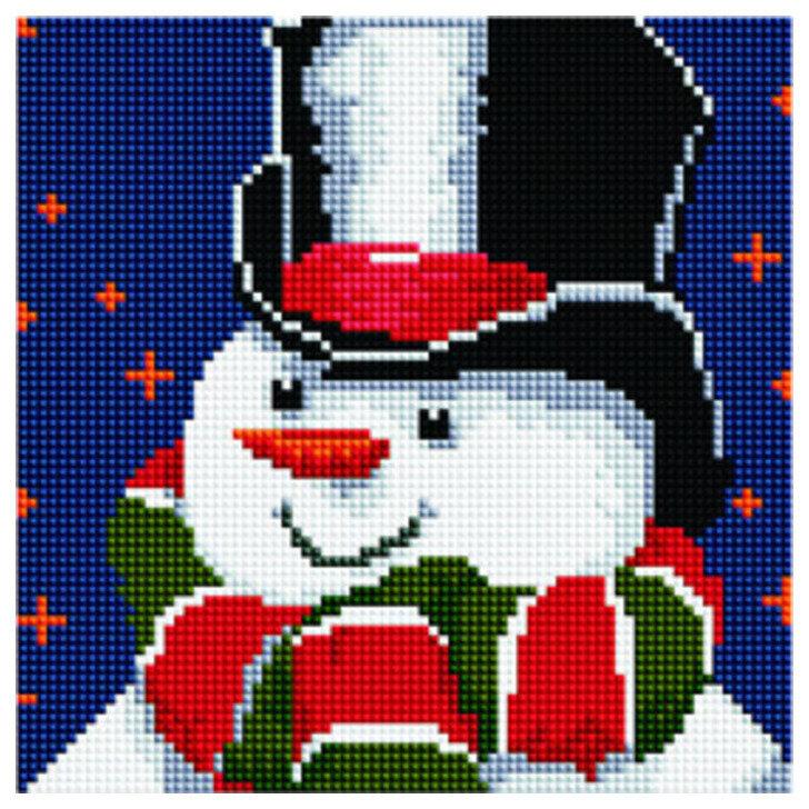 Алмазная мозаика BF 779 Снеговик в шляпе и шарфе 20*20