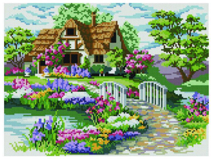 Алмазная мозаика EF 667 Цветник у тихой реки 30*40