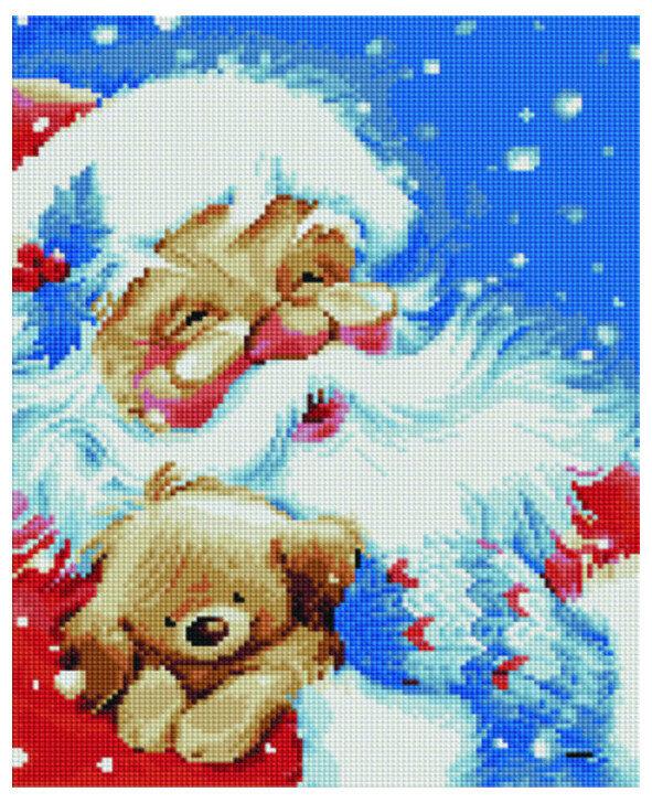 Алмазная мозаика EF 713 Дед Мороз и плюшевый мишка 30*40