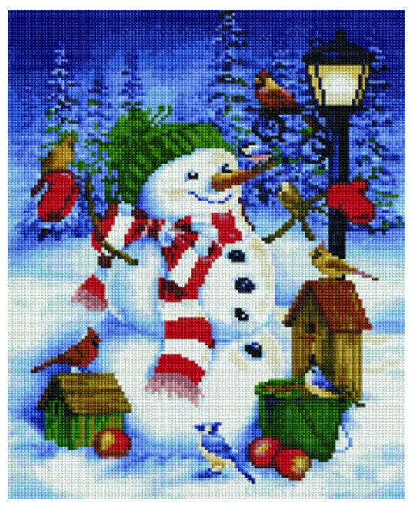 Алмазная мозаика EF 716 Снеговик и зимние птицы 30*40