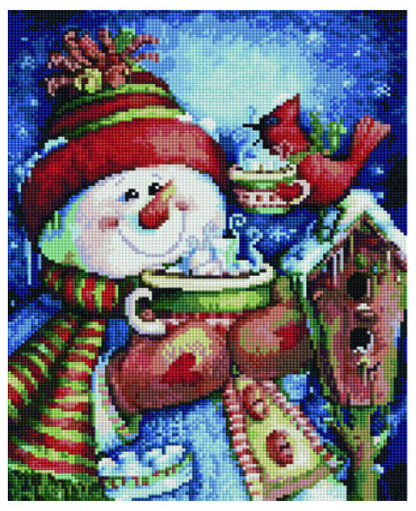 Алмазная мозаика EF 721 Снеговик с чашкой 30*40