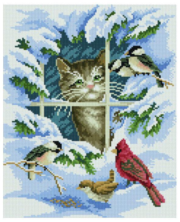 Алмазная мозаика EF 756 Зиминие птицы и котенок 30*40