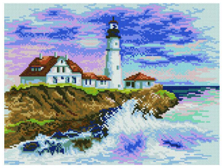 Алмазная мозаика EF 773 Бурные волны у маяка 30*40