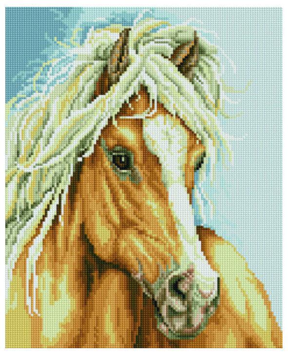 Алмазная мозаика EF 794 Конь с белой гривой 30*40