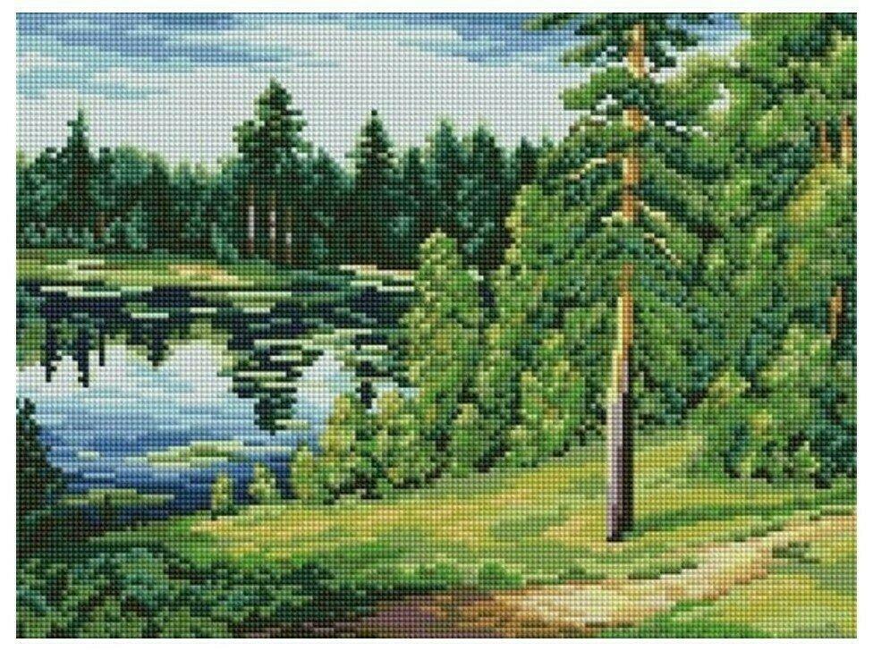 Алмазная мозаика EF 801 Лесное озеро 30*40