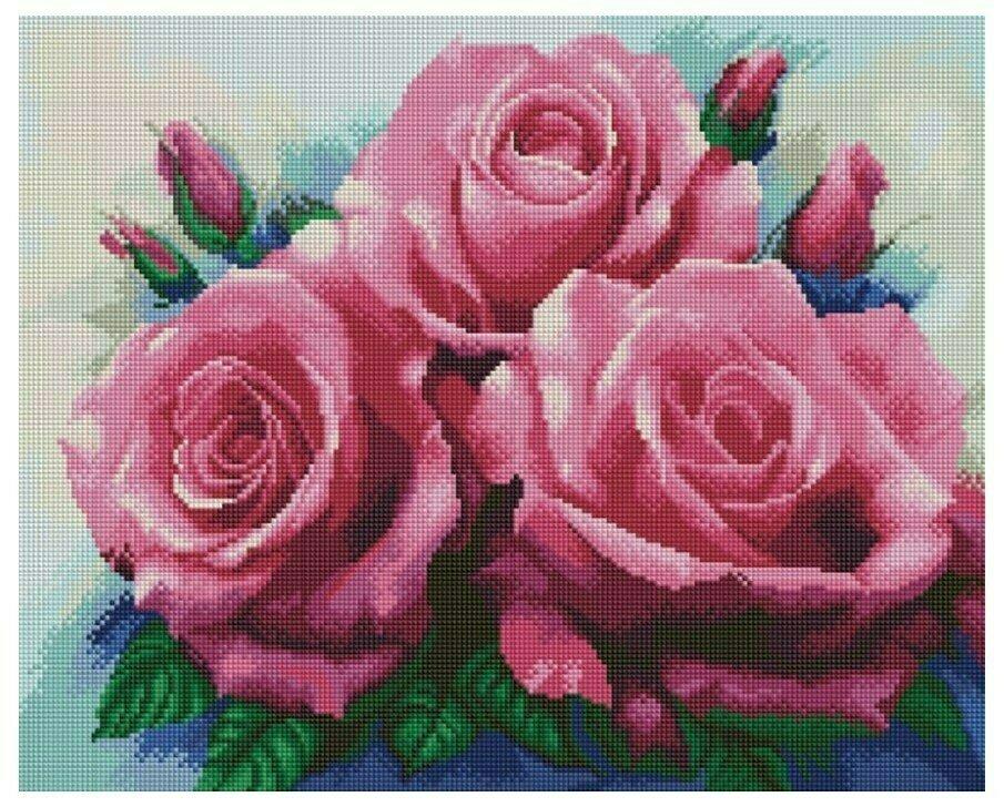 Алмазная мозаика GF 691 Букет из трех роз 40*50