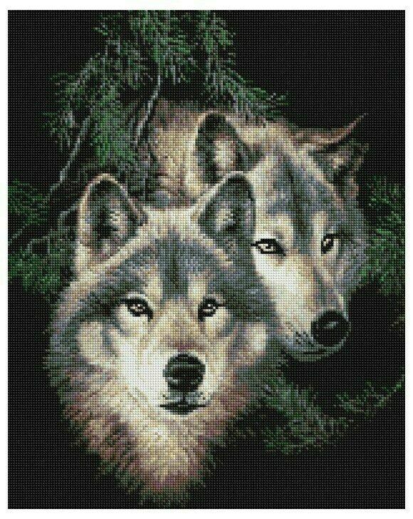 Алмазная мозаика GF 890 Два волка 40*50