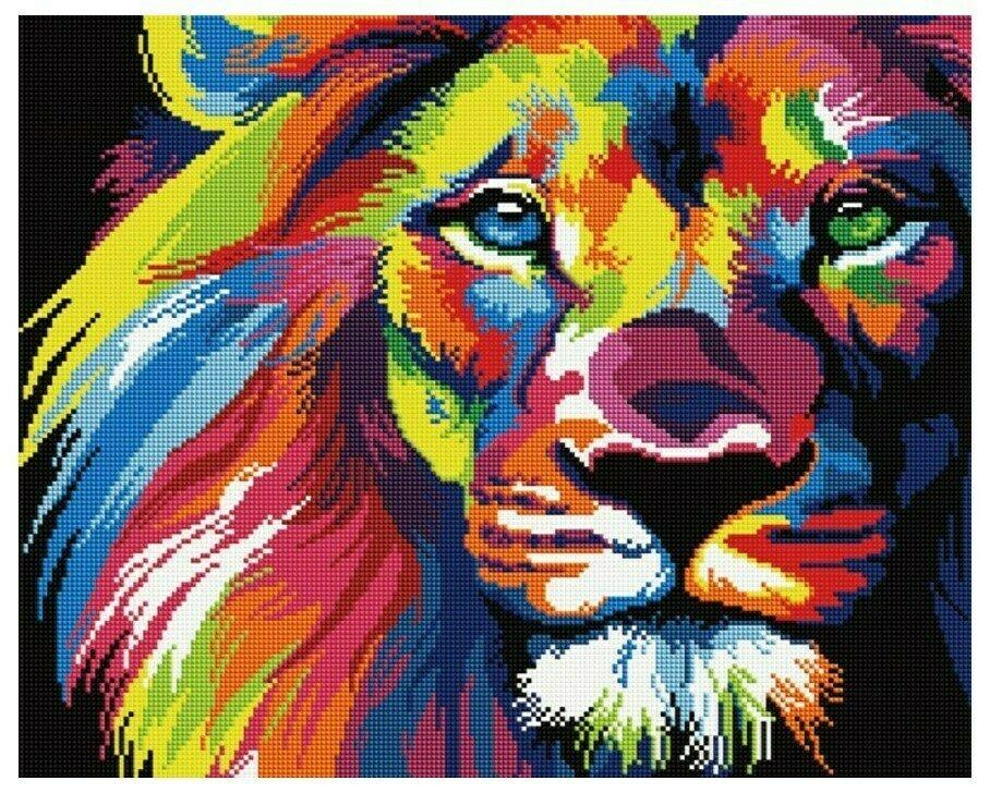 Алмазная мозаика GF 928 Радужный лев 40*50