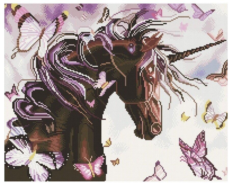 Алмазная мозаика GF 976 Единорог с бабочками 40*50