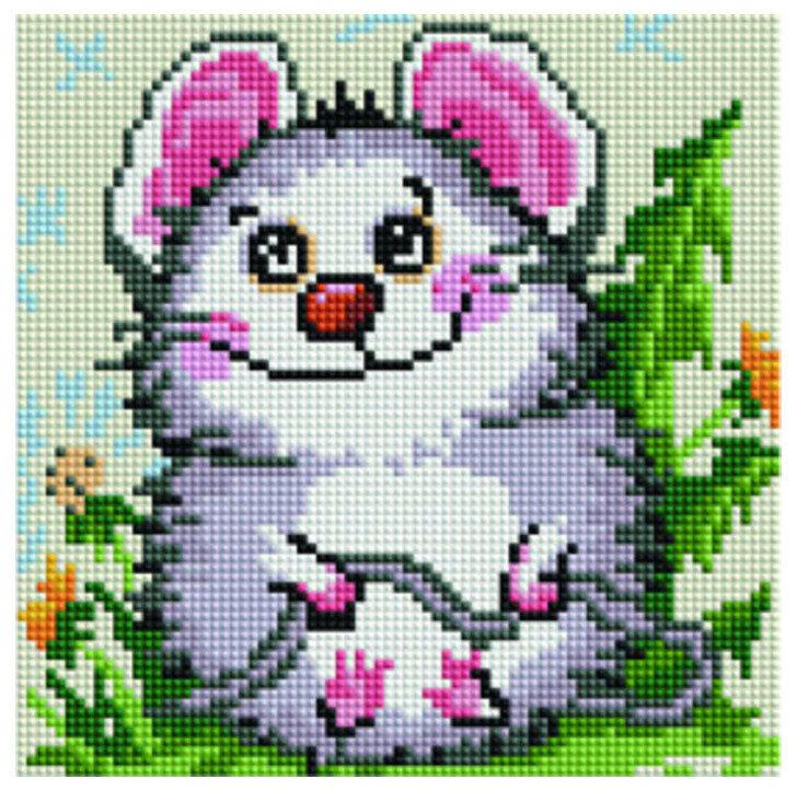 """Алмазная мозаика Paintboy Original""""Скромный мышонок"""" 20х20"""