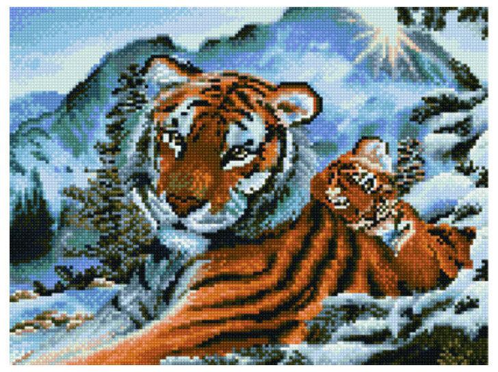 """Алмазная мозаика Paintboy Original""""Тигр в горах"""" 30х40"""