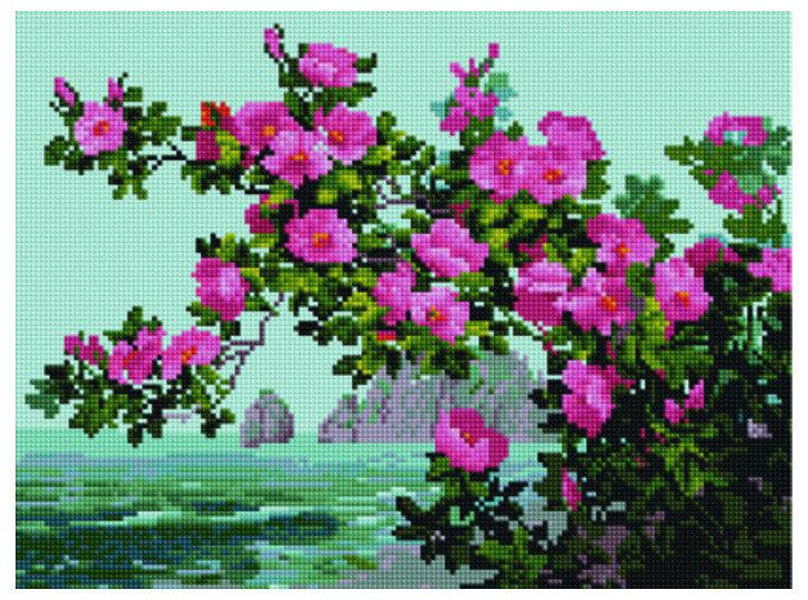 """Алмазная мозаика Paintboy Original""""Цветы у моря"""" 30х40"""