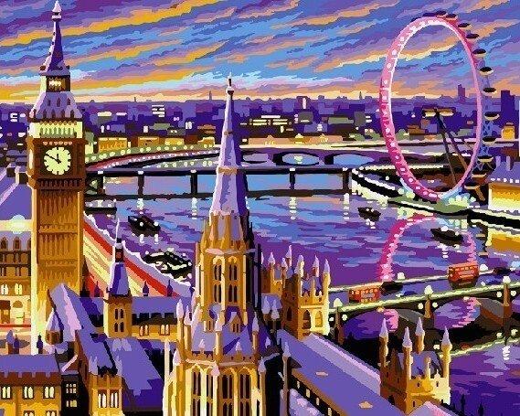 Картина по номерам 40х50 - Вечерний Лондон