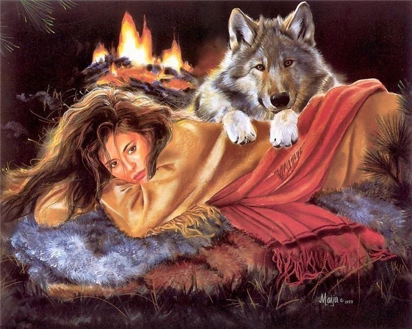 Картина по номерам 40х50 - Дева и волк у костра