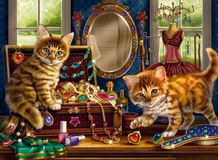 Картина по номерам 40х50 - Котята в будуаре