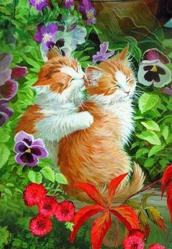 Картина по номерам 40х50 - Кошачьи нежности
