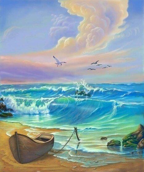 Картина по номерам 40х50 - Лодка у моря