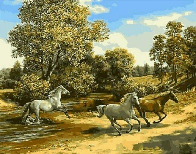 Картина по номерам 40х50 - Лошади