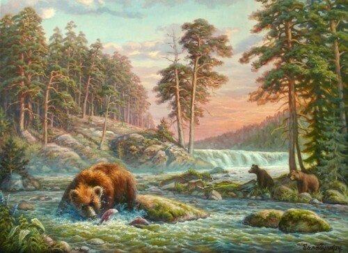 Картина по номерам 40х50 - Медведи на реке