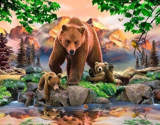 Картина по номерам 40х50 - Медведица с медвежатами
