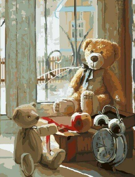Картина по номерам 40х50 - Мишки у окна