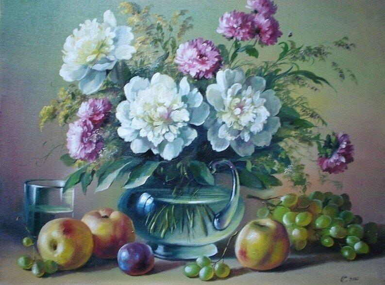 Картина по номерам 40х50 - Натюрморт с пионами
