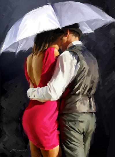 Картина по номерам 40х50 - Пара под зонтом