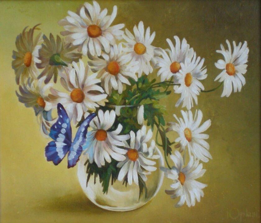 Картина по номерам 40х50 - Ромашки и бабочка
