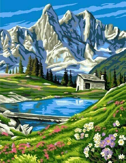Картина по номерам 40х50 - Снежные горы