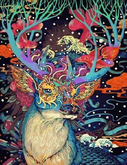 Картина по номерам 40х50 - Цветочный олень