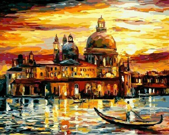 Картина по номерам GX 6753 Золотое небо Венеции 40*50