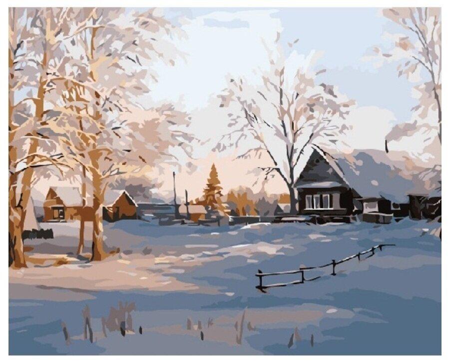 Картина по номерам GX 6905 Зимняя деревенька 40*50