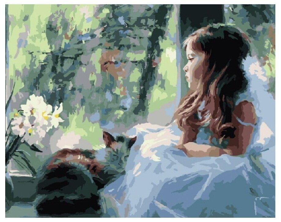 Картина по номерам GX 6920 Девочка с котом у окна 40*50