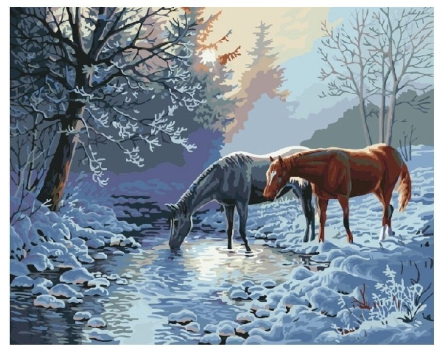Картина по номерам GX 7013 Зимой на водопое 40*50