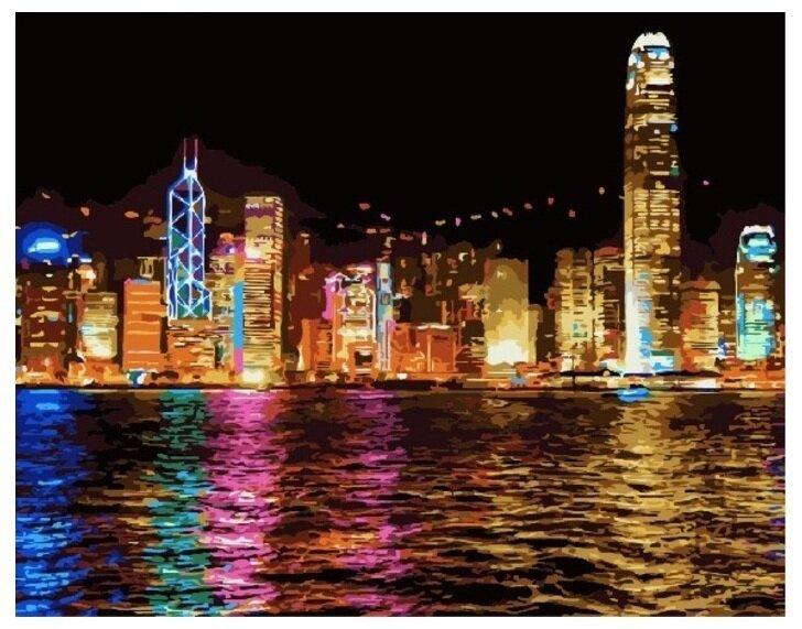 Картина по номерам GX 7256 Ночной Гонконг 40*50