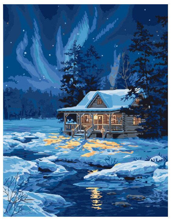 Картина по номерам GX 7415 Огни у замерзшей реки 40*50